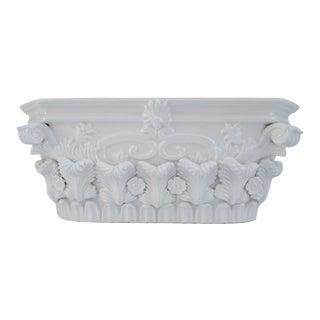 """Vintage Italian White Porcelain """"Corinthian"""" Style Centerpiece, Planter or Cachepot For Sale"""