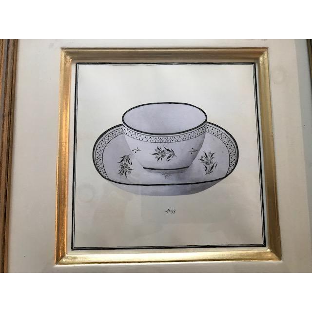 Trowbridge Gallery Numbered Teacup Square Prints in Gilt Frames - Set of 4 For Sale - Image 9 of 13