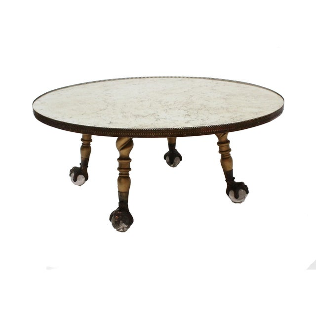 Hollywood Regency Round Mirror Coffee Table - Image 2 of 7