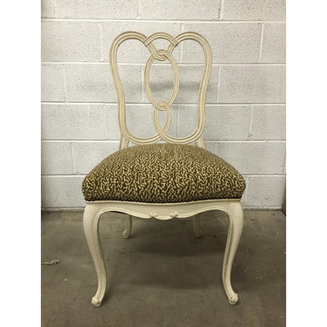 Vintage Cream Wood Ribbon-Back Dining Side Chairs With Upholstered Seat - a Pair - Image 3 of 9