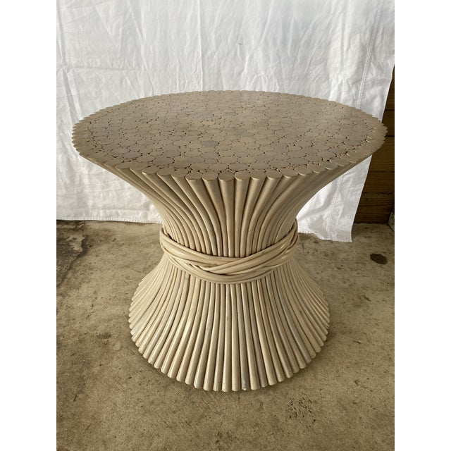 1980s Vintage Rattan Sheaf of Wheat Side Table For Sale - Image 10 of 11