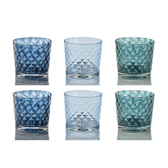 Mindala Short Glasses, Blues and Green - Set of 6 For Sale - Image 11 of 12