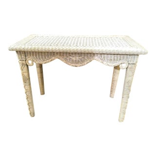 Vintage Coastal Wicker and Wood White Wash Natural Scalloped Edge Console Table For Sale