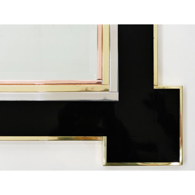 1975 Alain Delon for Maison Jansen Lacquer and Brass Wall Mirror For Sale - Image 12 of 13