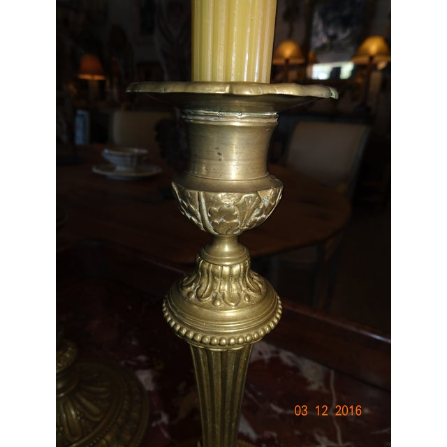 Louis XVI Brass Candle Holders, Pair For Sale - Image 3 of 10