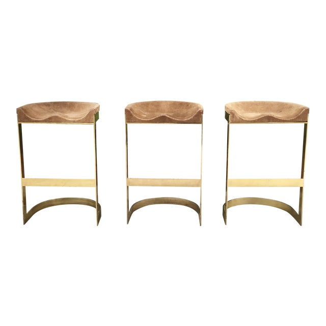 Set of 3 Vintage Brass Stools by Warren Bacon - Image 1 of 7