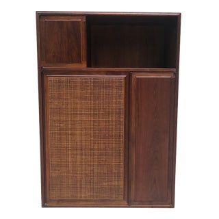 1960s Mid Century Modern Walnut Cabinet With Cane Door For Sale