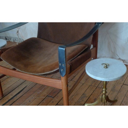 Mid-Century Modern Vintage Round Marble and Brass Tea Tables - a Pair For Sale - Image 3 of 8