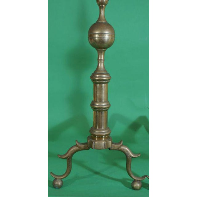 Early 19th Century Brass Andirons - a Pair For Sale - Image 4 of 4