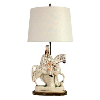 19th Century Staffordshire Ceramic Scottish Horse and Rider Table Lamp For Sale
