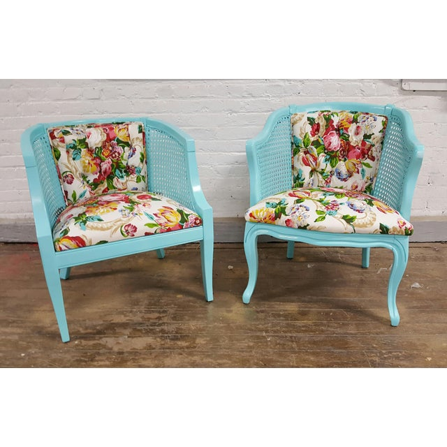 Mid-Century Blue Floral Chairs - A Pair - Image 9 of 10