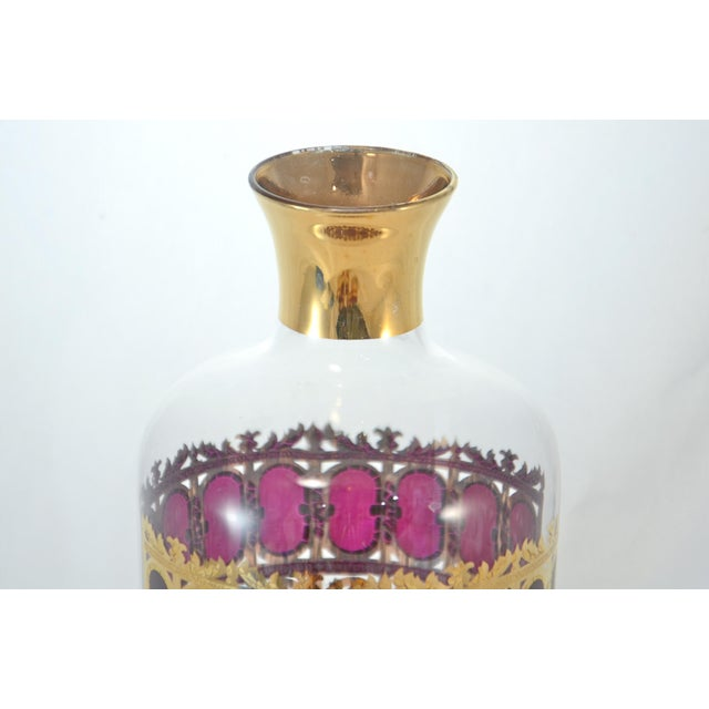 Culver 22k Gold & Violet Decanter & Glasses - Set of 6 - Image 3 of 7