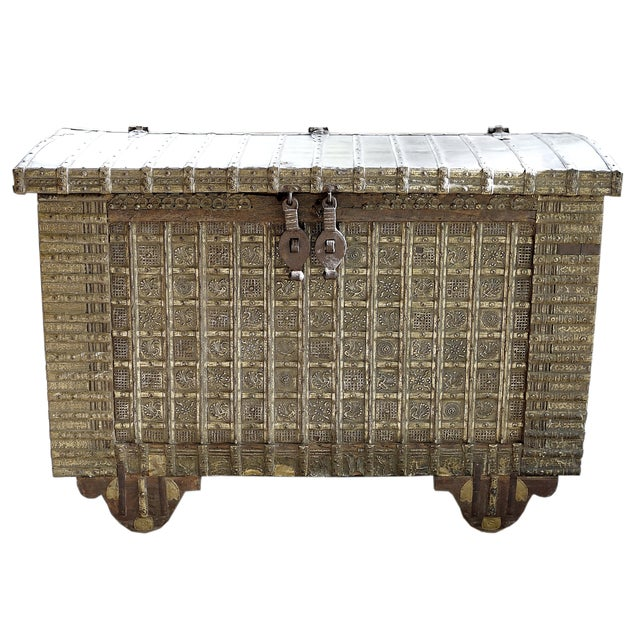 19th-C. Indian Brass & Iron Trunk For Sale