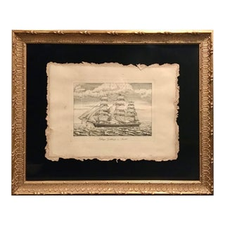 1990s Engraved Print of Sailing Ship From Chelsea House, Framed For Sale