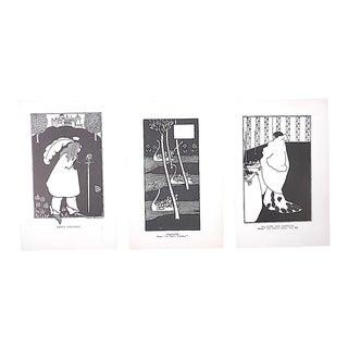 Vintage Art Nouveau Lithographs-A Set of 3-Aubrey Beardsley For Sale