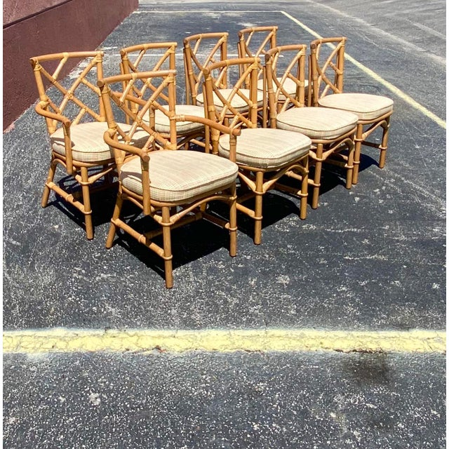 Vintage Coastal Ficks Reed Chinese Chippendale Bamboo Dining Chairs - Set of 8 For Sale - Image 12 of 13