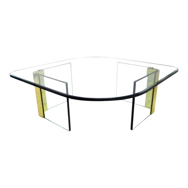 Modern Large 1970s Thick Glass & Brass Coffee Table For Sale