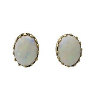 Vintage 14k Gold Pierced Post Opal Stud Earrings For Sale