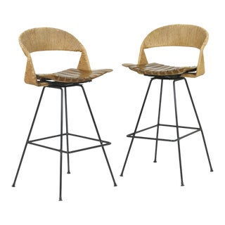 1950s Vintage Arthur Umanoff Bar Height Swivel Stools- A Pair For Sale
