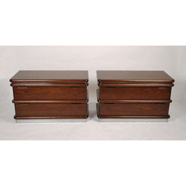 Brown Jay Spectre Modernist Walnut and Brushed Stainless Nightstands For Sale - Image 8 of 10