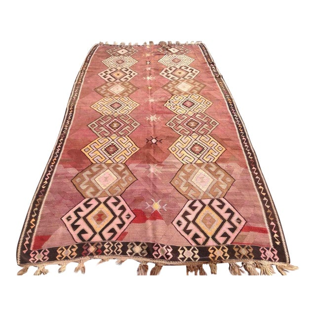 "Vintage Turkish Kilim Rug - 5'6"" X 11'1"" - Image 1 of 6"
