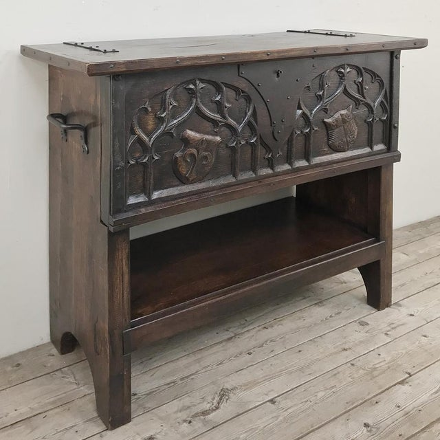 Antique French Gothic Low Buffet - Console - Sofa Table is perfect behind the sofa, at the foot of the bed, or on a wall...