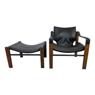 1970s Vintage Maurice Burke Safari Chair and Ottoman For Sale