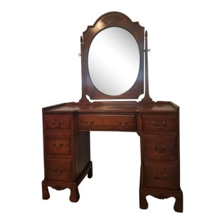 1940s Traditional Davis Cabinet Co. Walnut Vanity With Mirror For Sale