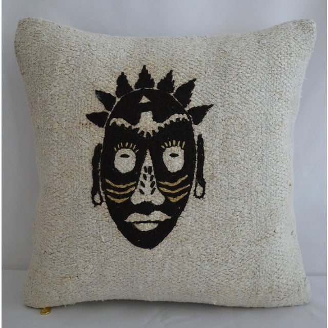 "Cotton African Mask Handmade Rug Hemp Pillow Cover Throw With Free Insert 16"" X 16"" For Sale - Image 7 of 7"