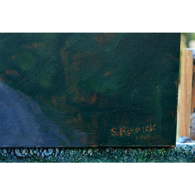 """Blue Stephen Remick """"Gravel Road in Vermont"""" Contemporary 2010s Landscape Painting For Sale - Image 8 of 11"""