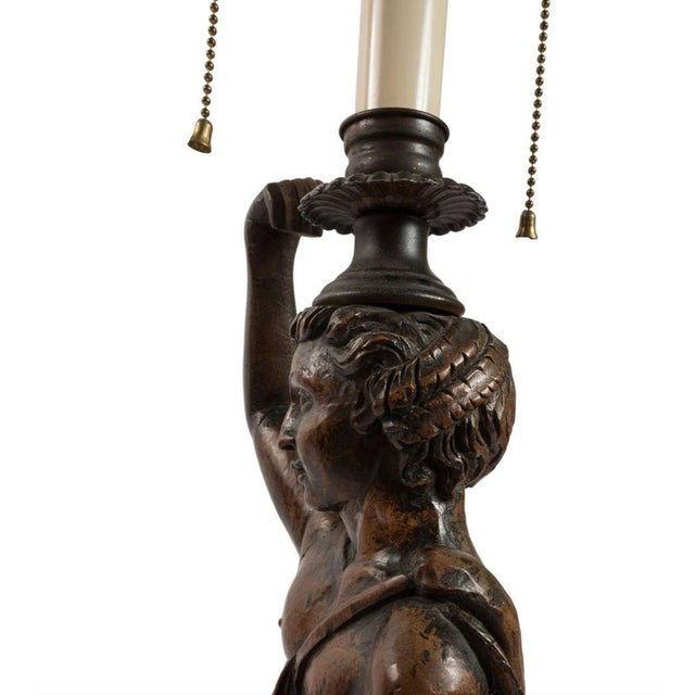 Mid 19th Century 19th Century Mythological Women and Snakes Wood Carved Lamps - a Pair For Sale - Image 5 of 11
