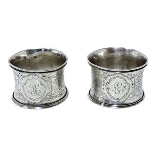 Mid 19th Century Antique Silver Napkin Rings - A Pair For Sale