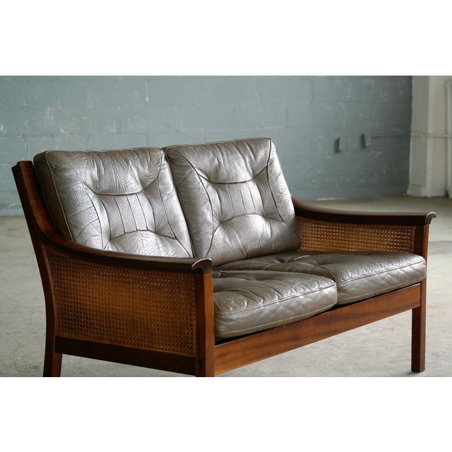 1960s Torbjørn Afdal Settee in Olive Colored Leather and Woven Cane for Bruksbo, 1960s For Sale - Image 5 of 13