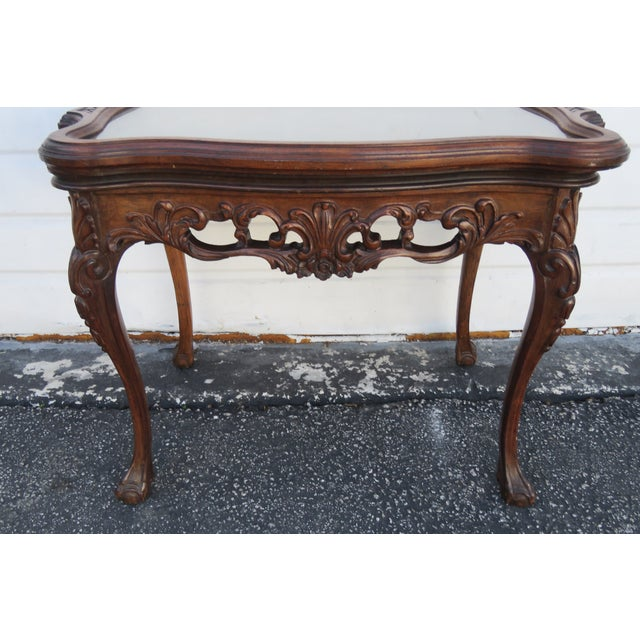 Traditional Early 1900s Hand Carved Violin Inlay Coffee Table With Serving Glass Tray For Sale - Image 3 of 12