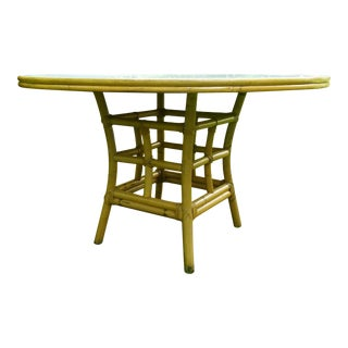 1960s Mid-Century Modern Ficks Reed White Top Rattan Dining Table