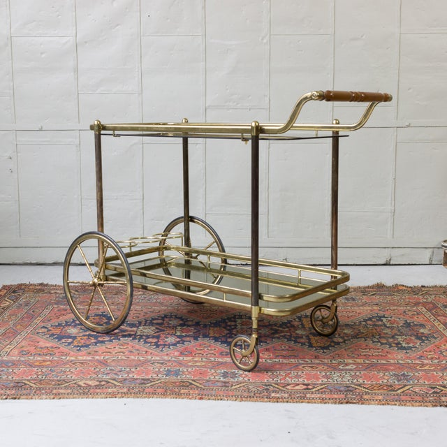 Brass Bar Cart With Glass Shelves - Image 8 of 11