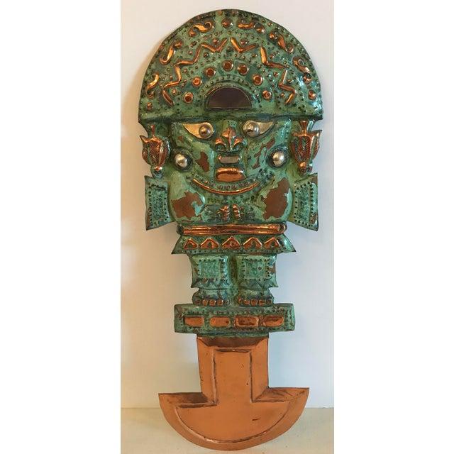 Vintage Copper Aztec God Wall Hanging For Sale - Image 9 of 9