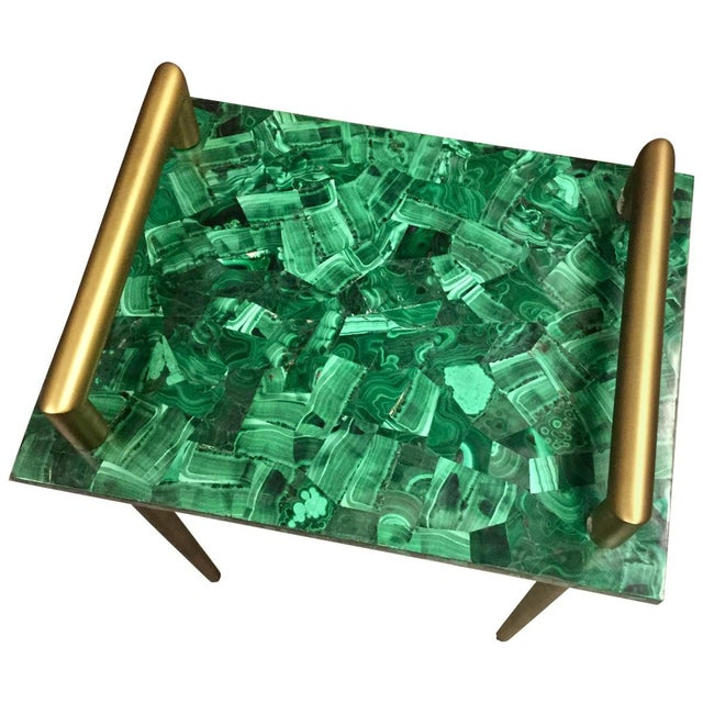 Malachite Stone & Metal Handle Side Table - Image 4 of 5