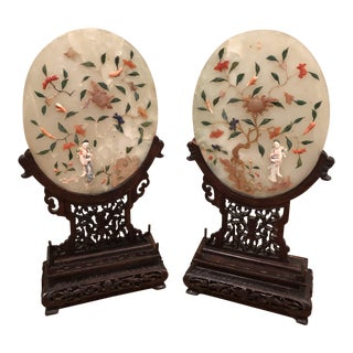 Vintage Chinoiserie Jade & Soapstone Plaques - A Pair