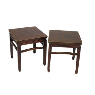 1900s Vintage Square Stools- a Pair For Sale