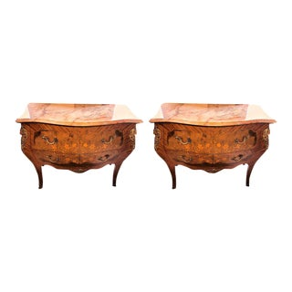 Louis XV Style Marble-Top Bombe Commodes or Nightstand Chests - a Pair