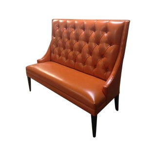 Custom Orange Faux Leather Banquette For Sale