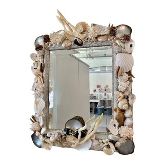Grey Shelled Beveled Wall Mirror For Sale