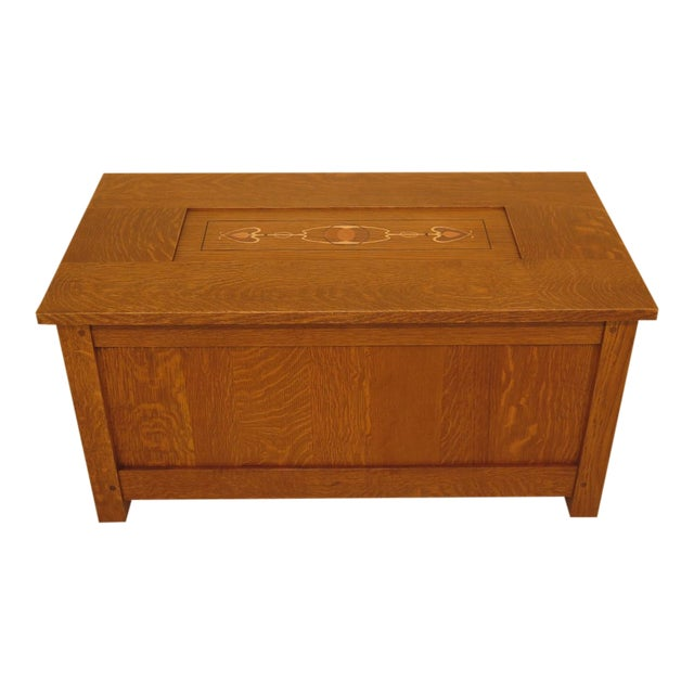Arts & Crafts Stickley Inlaid Top Oak Blanket Chest For Sale