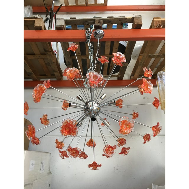 Murano Glass Triedo Sputnik Flower Chandelier For Sale - Image 6 of 6