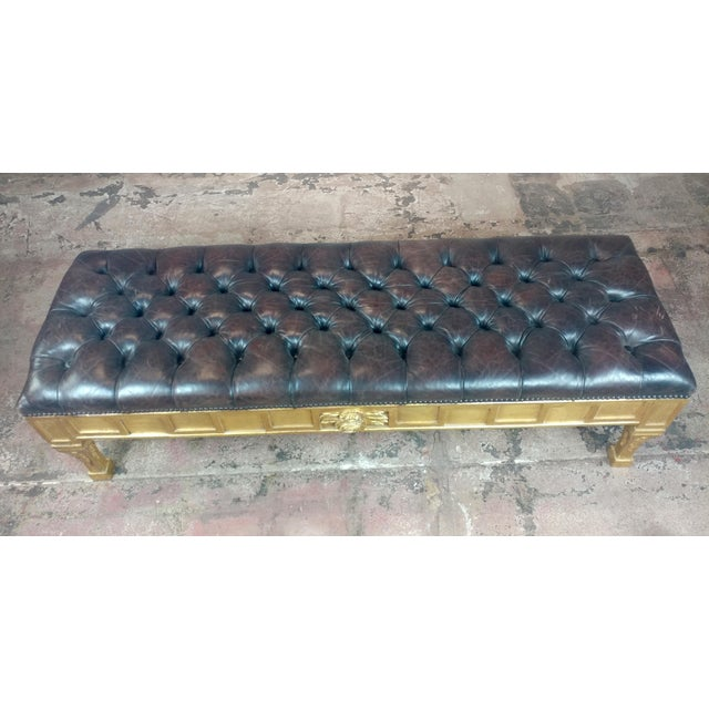 French French Empire Beautiful Tufted Leather Window Bench For Sale - Image 3 of 10