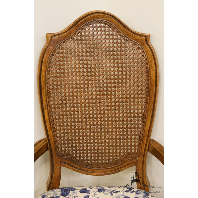Late 20th Century Thomasville Furniture Tapestry Collection Cane Back Dining Arm Chair For Sale - Image 5 of 13
