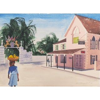 Bay Street, Nassau' by June Deist, Mid-Century Bahamas, Ohio Woman Artist, Cincinnati, Nywa For Sale