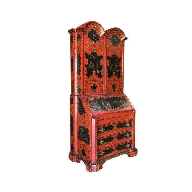 1950s Hollywood Regency Secretary Desk Secretaire Bookcase W/ Chinese Motif For Sale