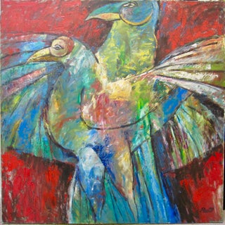 Large Lovebird Parrots Expressionist Oil Painting 1980s Sammy Pasto Signed For Sale